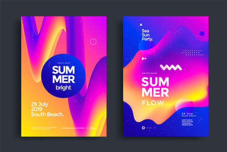 Summer bright party poster wiht liquid form