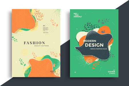 Abstract retro art poster design with shapes