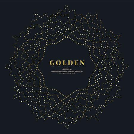 Gold dotted wavy mandala on black background