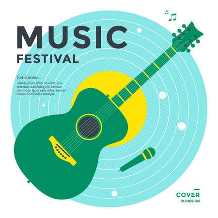 Music festival poster design template with guitar Illusztráció