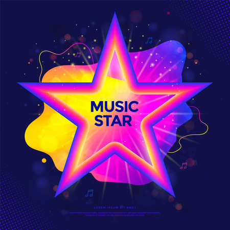 Music star banner or party poster with colorful liquid form Stock fotó