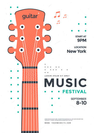 Rock Poster design with the stylized guitar