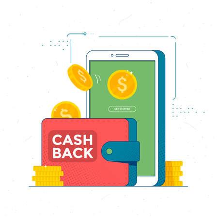 Cashback online service concept. Save money icon Illusztráció