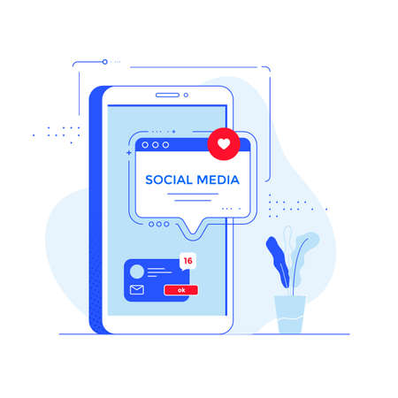 Social media network concept vector banner design