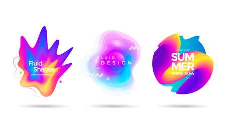 Set of abstract liquid shape. Fluid banner Vectores