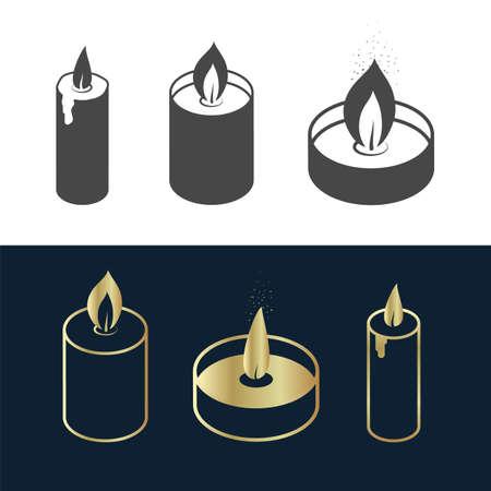 Simple Candles icon set gold, black and white Illusztráció