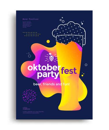 Oktoberfest party poster with glass of beer Vektoros illusztráció