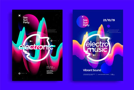 Electronic music festival poster with abstract gradient lines. Illusztráció