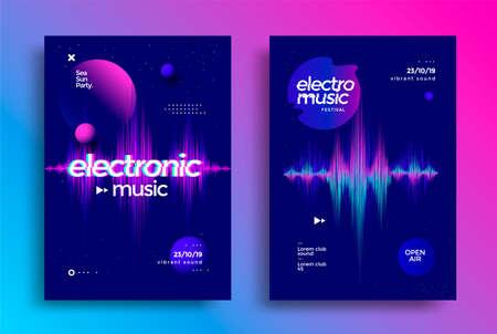 Electro music festival. Dynamic sound wave flyer