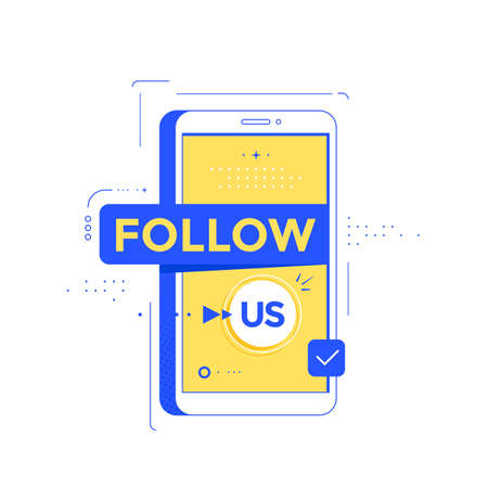 Icon Follow us with smartphone. Social media