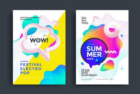 Festival electro pop poster layout. Music fest Illusztráció