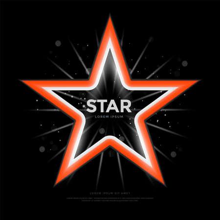 Red star frame with decoration elements on Illusztráció