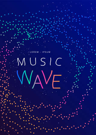 Music wave poster design dotted gradient waves