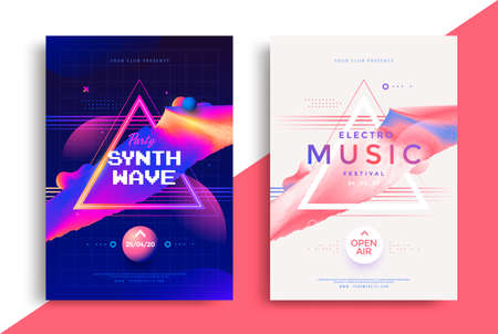 Electro music festival poster with abstract lines