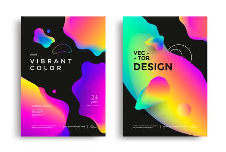 Modern poster layout with vibrant gradient shapes Illusztráció