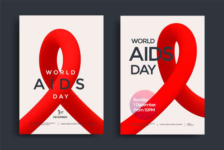 World Aids Day poster design with red shape