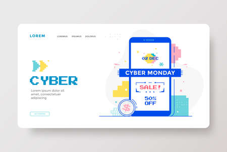 Cyber Monday Sale with technology interface design