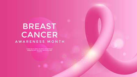 Pink ribbon, breast cancer awareness month, eps 10 Illustration