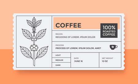 Packaging design for coffee. Vector vintage label Vecteurs
