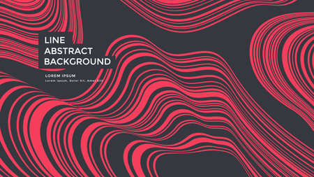 Red striped line background. Abstract linear wave Vector Illustration