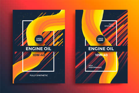 Engine oil package design with yellow fluid shapes