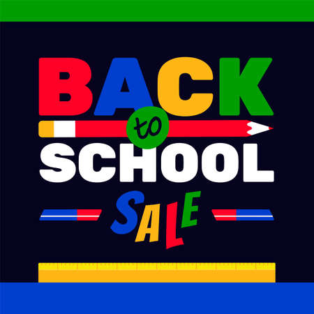 Back to school sale colorful typography background