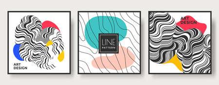 Set of abstract striped geometric art backgrounds. Ilustração
