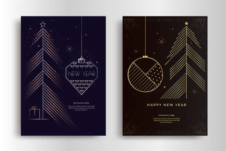 Happy New Year greeting card with gold toys