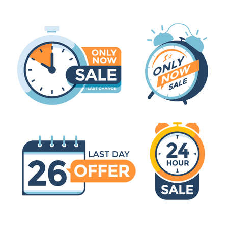 Last day offer modern label with alarm clock