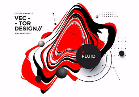 Black and red fluid shape on white background Ilustração