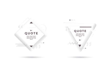 Quote 3d white frame. Modern neumorphism graphics.