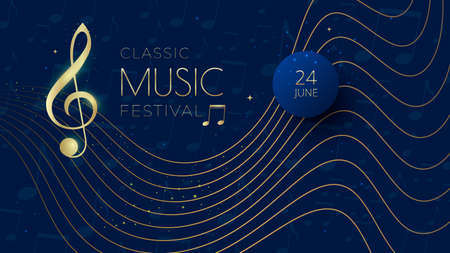 Music festival background with notes, treble clef