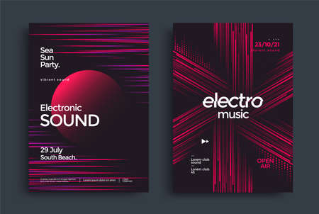 Electronic music poster with gradient line