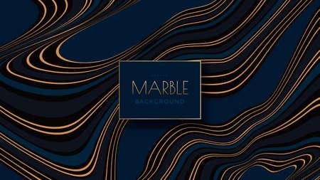 Blue marble with golden veins vector pattern Ilustração