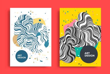 Abstract twisted fluide shape poster design Ilustração