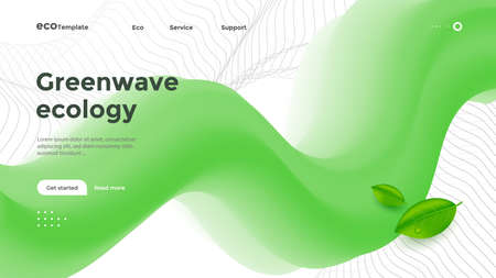 Ecology Corporate landing page with 3d green wave.