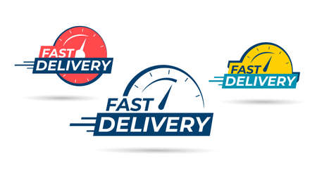 Fast delivery icon or sign with chronometer