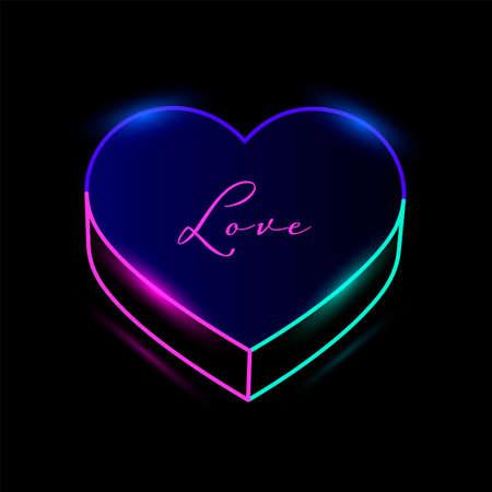 Neon heart with colorful illumination line Ilustração