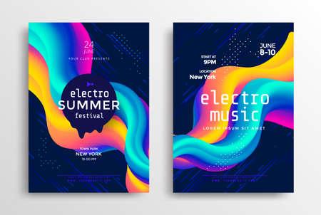 Electronic music poster with gradient shapes Ilustração