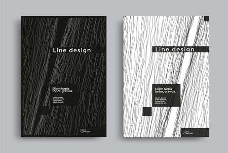 Minimal covers with black and white wavy lines Ilustração
