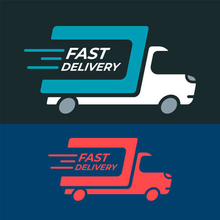 Fast delivery shipping truck set icons.