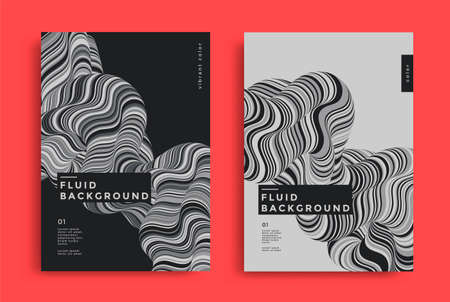 Grey cover design with fluids form composition