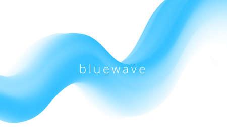 Abstract fluid blue wave. Wavy design element Ilustração