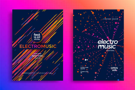 Electro music festival poster with abstract lines. Ilustração