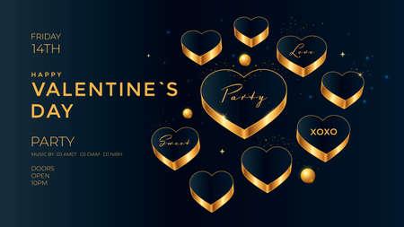 Golden Hearts on dark background. Valentines day