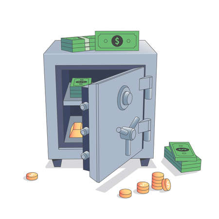 Open Safe with money and gold isolated
