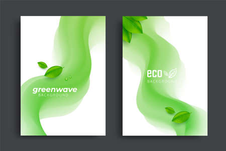 Eco brochure design with green fluid wavy shapes
