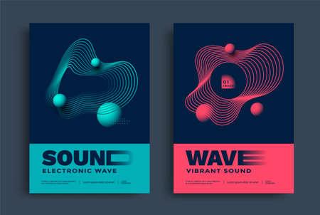Swiss modern music festival poster with wave lines Ilustração