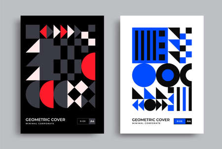 Bauhaus modern posters with geometric shapes