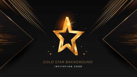 Golden 3d star on black modern background